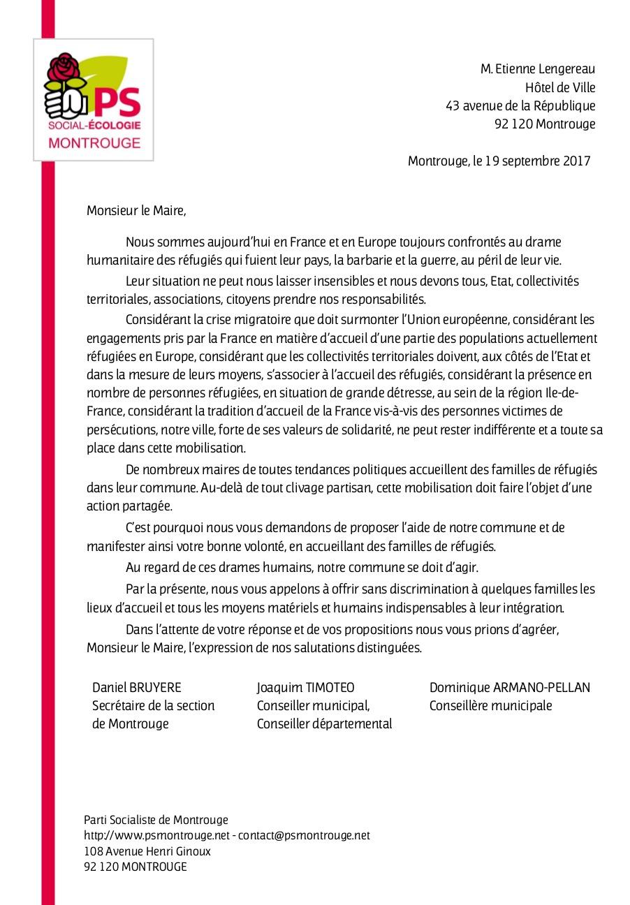 Lettre au maire de Montrouge
