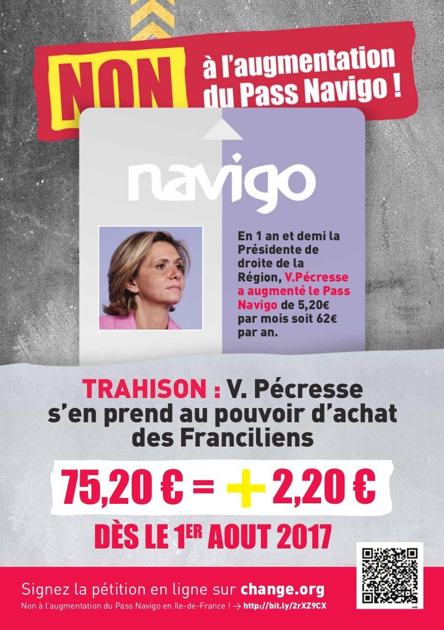 Région Île-de-France - NON à l'augmentation du Pass Navigo