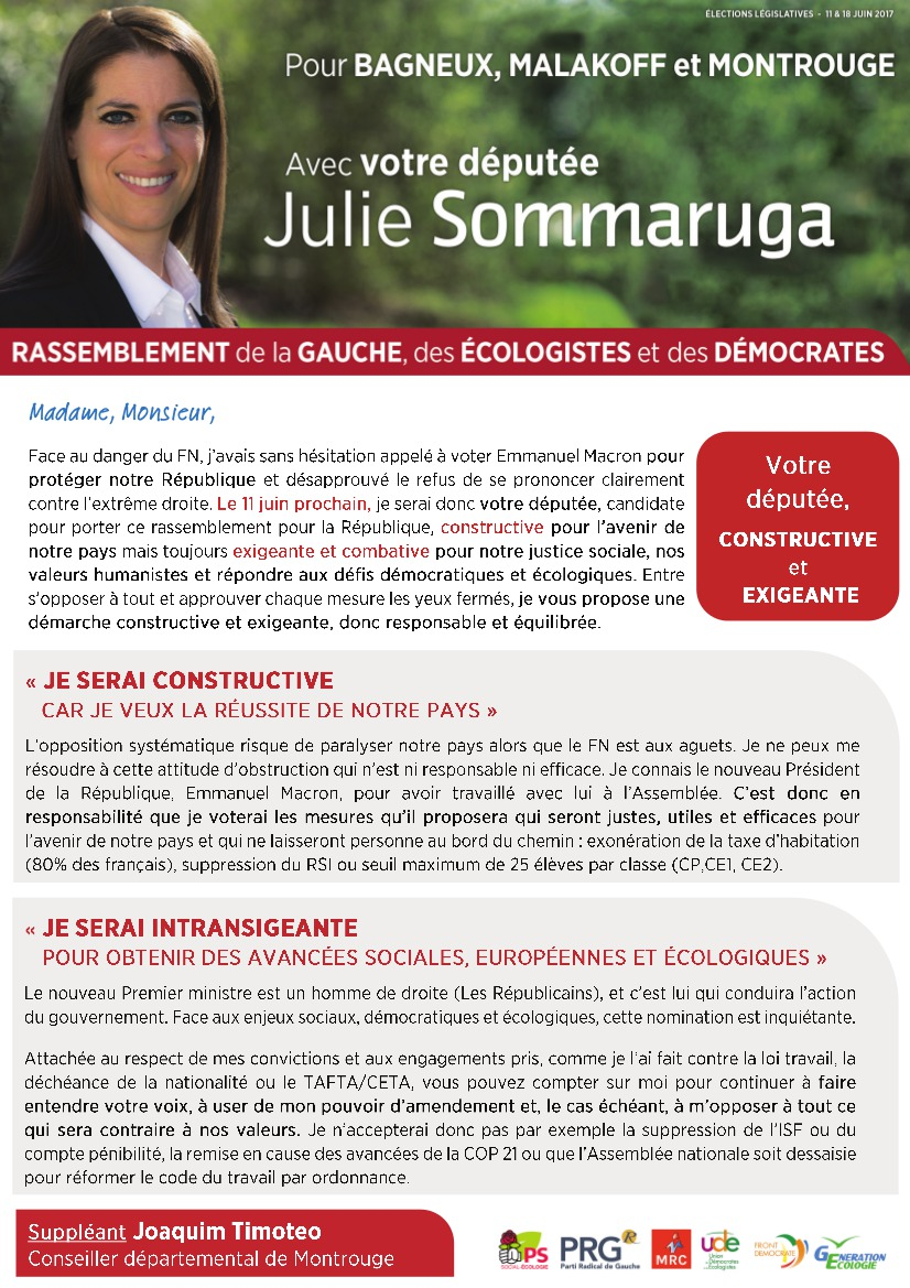 Julie Sommaruga - votre députée, constructive et exigeante