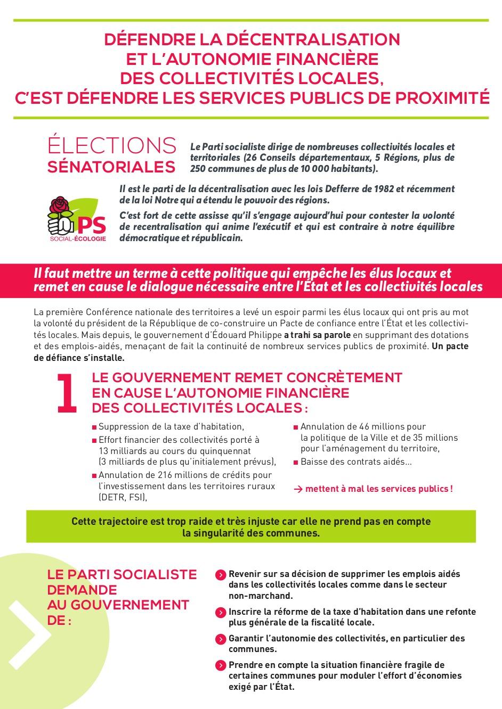 Elections sénatoriales- Défendre la décentralisation et l'autonomie financière des collectivités locales