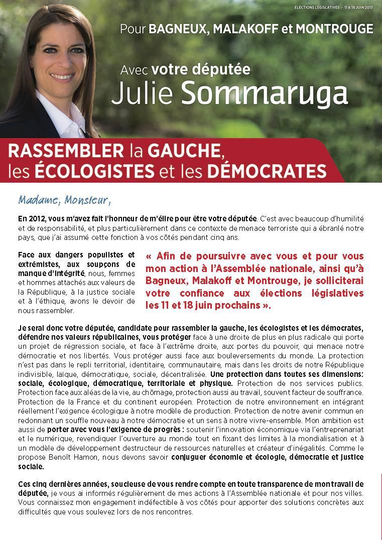 Lettre de candidature de Julie Sommaruga – Élections législatives des 11 et 18 juin
