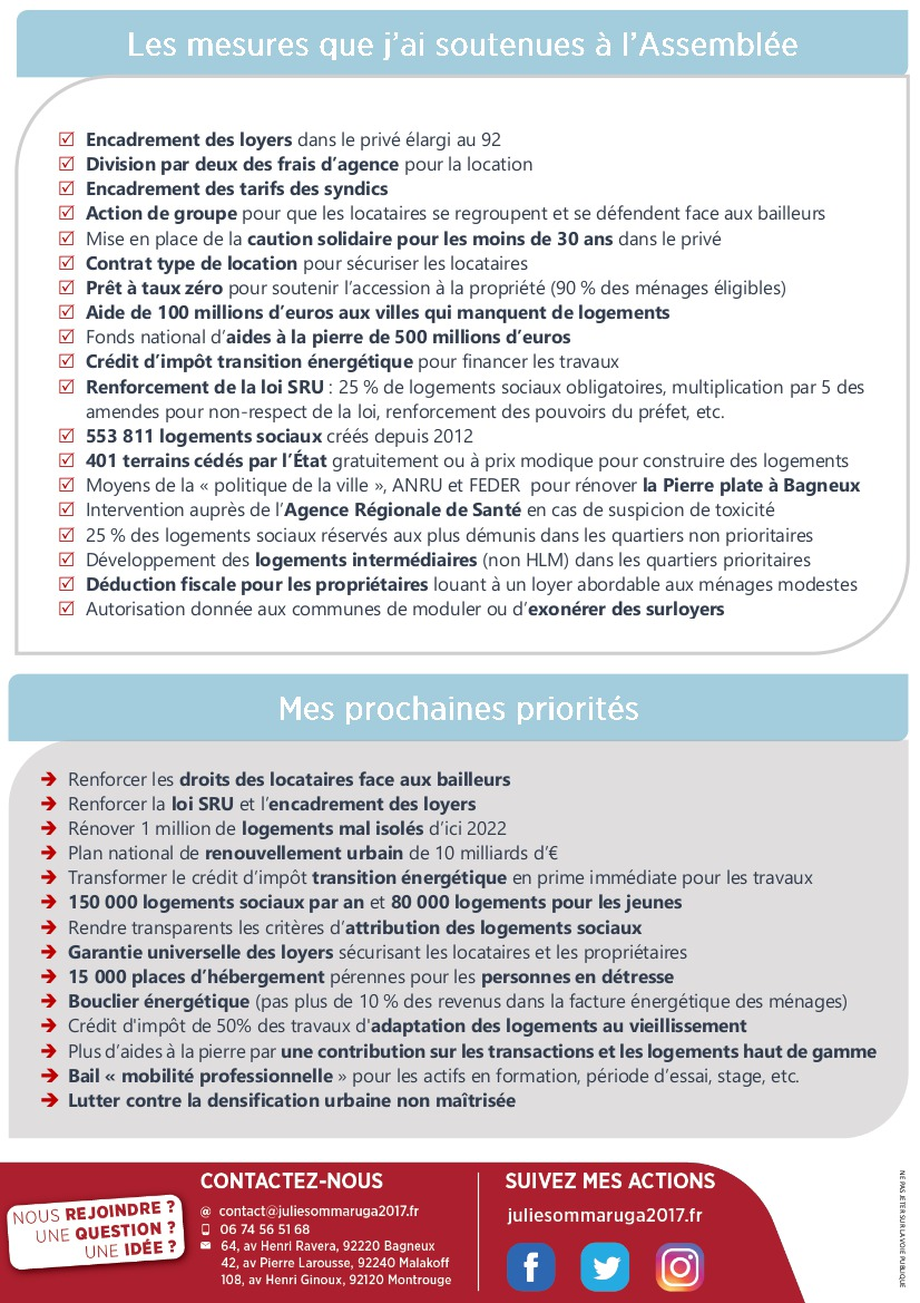 Venez débattre logement-cadre de vie le 30 mai à Bagneux avec Julie Sommaruga, votre députée