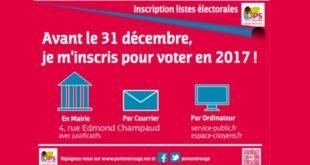 Inscrivez-vous sur les listes électorales avant le 31 décembre  – Campagne d'afichage
