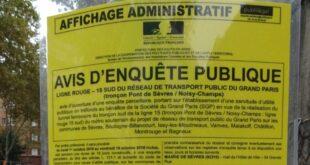 Avis d'enquête publique sur la ligne 15 sud du réseau de transport public du Grand Paris